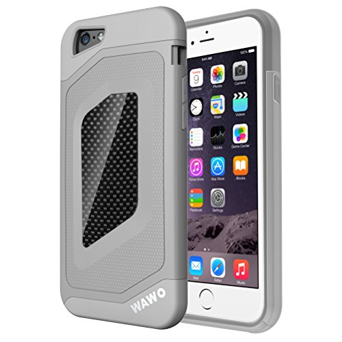 iphone-6-Case-WAWO-Sport-Luxury-Fashion-Carbon-Fiber-Trim-TPU-PC-Double-Protection-Shell-for-Apple-iphone-6-4.7-Grey-0
